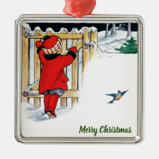 Kerstmis - Meisje in Rood Zilverkleurig Vierkant Ornament
