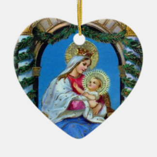 Kerstmis - Moeder Mary en Jesus Keramisch Hart Ornament