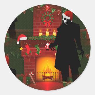 Kerstmis nosferatu ronde sticker