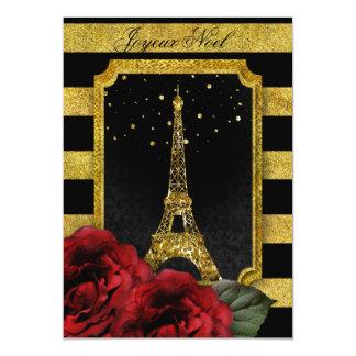 Kerstmis Parijs nam de Gouden Streep van de Toren 12,7x17,8 Uitnodiging Kaart