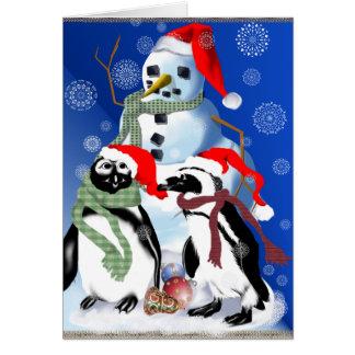 Kerstmis Penquin en de Kaart van de Sneeuwman