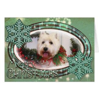 Kerstmis Photocard van Terrier van het Hoogland Kaart