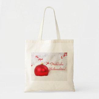 Kerstmis Rode en Witte Frohliche Weihnachten Budget Draagtas