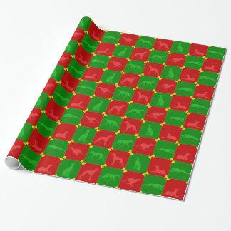 Kerstmis Rood/Groene Sighthounds Cadeaupapier