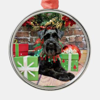 Kerstmis - Schnauzer - Fergie Zilverkleurig Rond Ornament