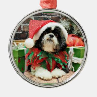 Kerstmis - Shih Tzu - Riley Zilverkleurig Rond Ornament