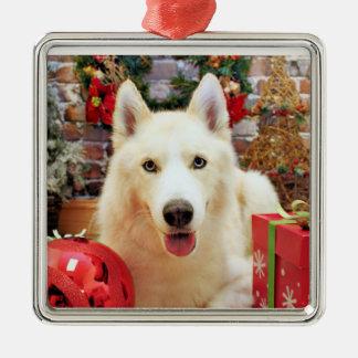 Kerstmis - Siberische Schor - Portretten Teagarden Zilverkleurig Vierkant Ornament
