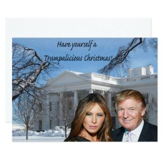 Kerstmis Trumpalicious van Donald en Melania 12,7x17,8 Uitnodiging Kaart