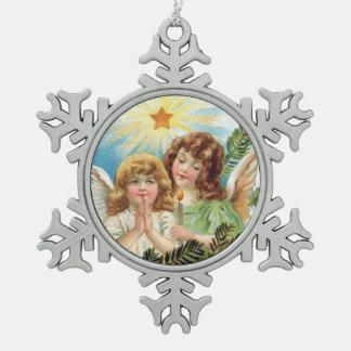 Kerstmis - Twee Kleine Engelen Tin Sneeuwvlok Ornament