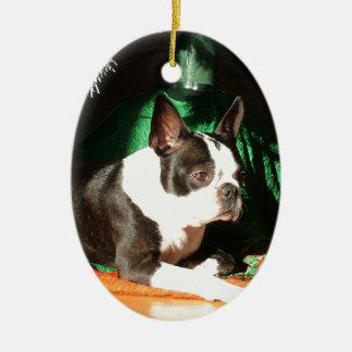 Kerstmis van Boston Terrier met Pijper Keramisch Ovaal Ornament