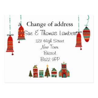 Kerstmis van de adreswijziging briefkaart