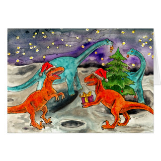 Kerstmis van de dinosaurus wenskaart
