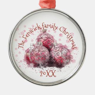 Kerstmis van de familie zilverkleurig rond ornament