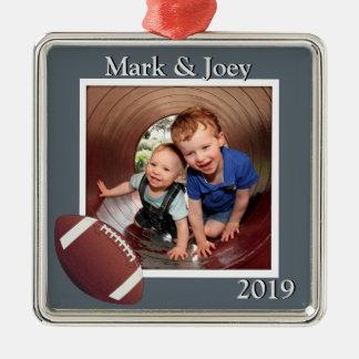 Kerstmis van de Foto van broers Football Zilverkleurig Vierkant Ornament
