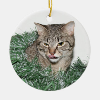 Kerstmis van de gestreepte kat rond keramisch ornament
