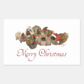 Kerstmis van de Groep van de pekinees Rechthoekige Sticker