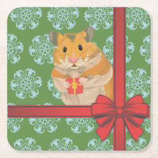 Kerstmis van de Hamster van Kerstmis van Hammy Vierkante Onderzetter