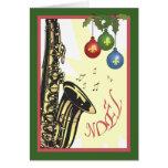 Kerstmis van de Jazz van New Orleans van de saxofo Kaart