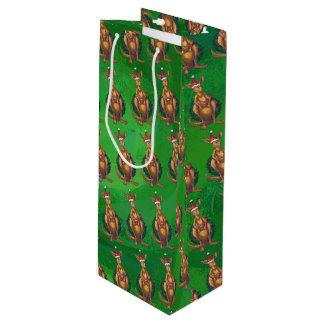 Kerstmis van de kangoeroe op Geschilderde Groene Wijn Cadeautas