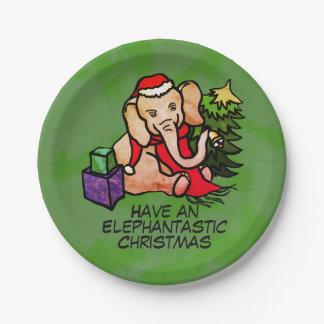 Kerstmis van de Olifanten van de Cartoon van Papieren Bordje