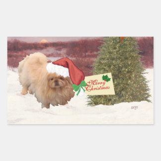 Kerstmis van de pekinees rechthoekige sticker