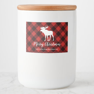Kerstmis van de Plaid van Amerikaanse elanden en Voedselcontainer Etiket
