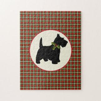Kerstmis van de Plaid van de Hond van Scottie Puzzel