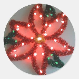 Kerstmis van de Poinsettia van het neon Ronde Sticker