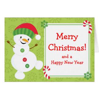 Kerstmis van de Sneeuwman van de Winter van Briefkaarten 0