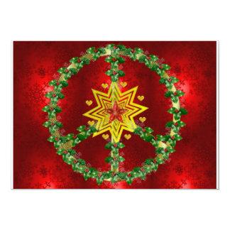 Kerstmis van de Ster van de vrede 12,7x17,8 Uitnodiging Kaart