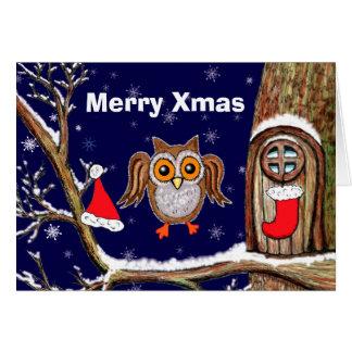 Kerstmis van de uil briefkaarten 0