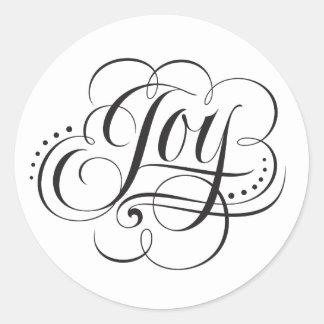 Kerstmis van de vreugde aan het Van letters Ronde Sticker