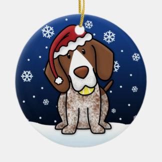 Kerstmis van de Wijzer Shorthair van de Cartoon Rond Keramisch Ornament