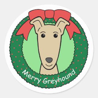 Kerstmis van de windhond ronde sticker