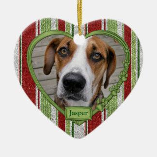 Kerstmis van het Hart van de Foto van de Strepen Keramisch Hart Ornament