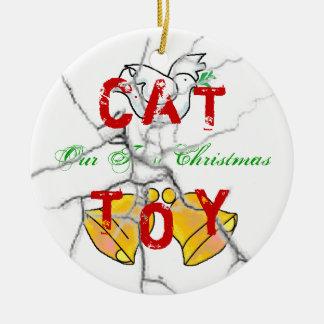Kerstmis van het kat rond keramisch ornament