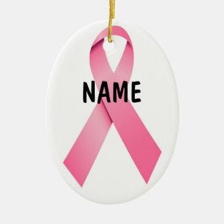 Kerstmis van het Lint van Kanker van de borst Roze Keramisch Ovaal Ornament