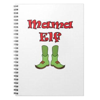 Kerstmis van het Paar van het Elf van het mamma Notitieboek