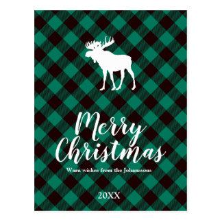 Kerstmis van het Patroon van de Plaid van Briefkaart