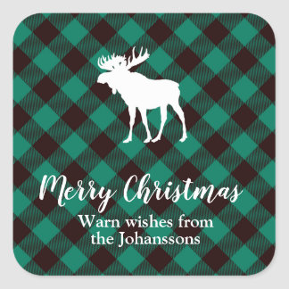 Kerstmis van het Patroon van de Plaid van Vierkante Sticker