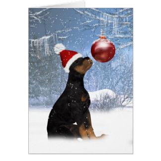 Kerstmis van het Puppy van Rottweiler - de Kaart