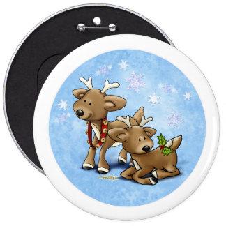 Kerstmis van het rendier ronde button 6,0 cm
