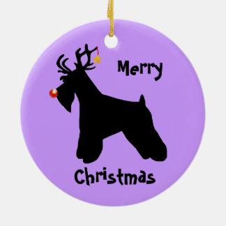 Kerstmis van het Rendier van Schnauzer Rond Keramisch Ornament