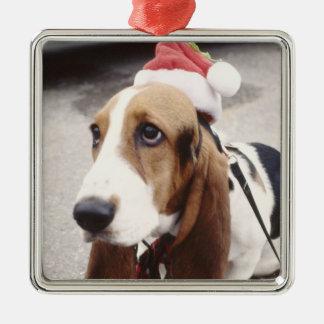 Kerstmis van het Vakantie van de Foto van het Zilverkleurig Vierkant Ornament