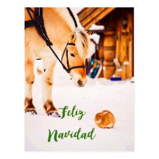 Kerstmis van Navidad van Feliz met boerderijdieren Briefkaart