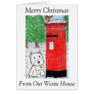 Kerstmis van Onze Kerstkaart van het Huis Westie Kaart