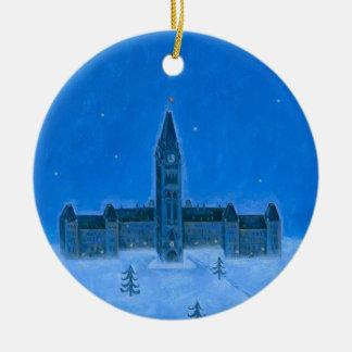 Kerstmis van Ottawa van Parlementsgebouwen Rond Keramisch Ornament