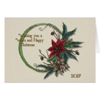 Kerstmis van poinsettia en van de Pijnboom Briefkaarten 0
