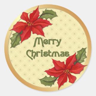 Kerstmis van poinsettia ronde stickers