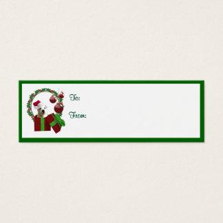 Kerstmis van Westie wenst de Labels van de Gift Mini Visitekaartjes
